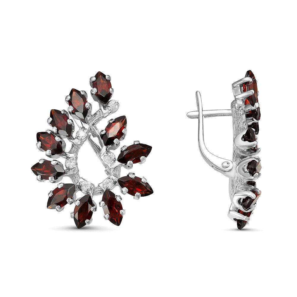 Серьги серебро натуральный природный гранат
