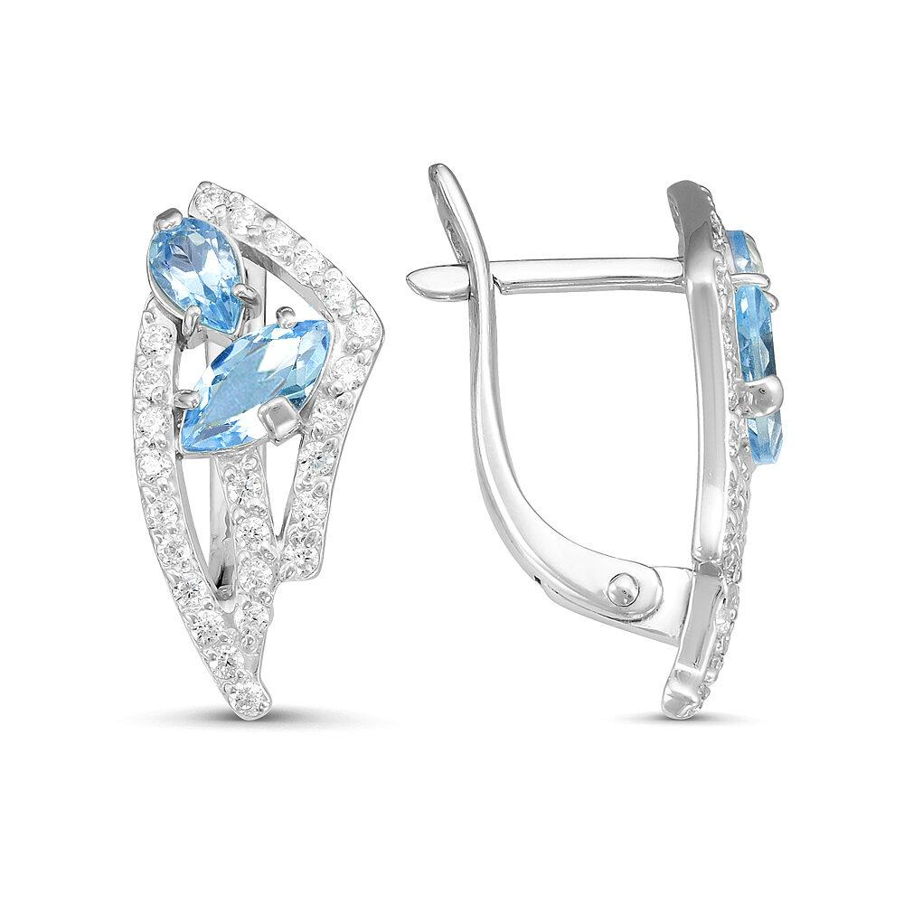 Серьги серебро натуральный природный голубой SKY топаз