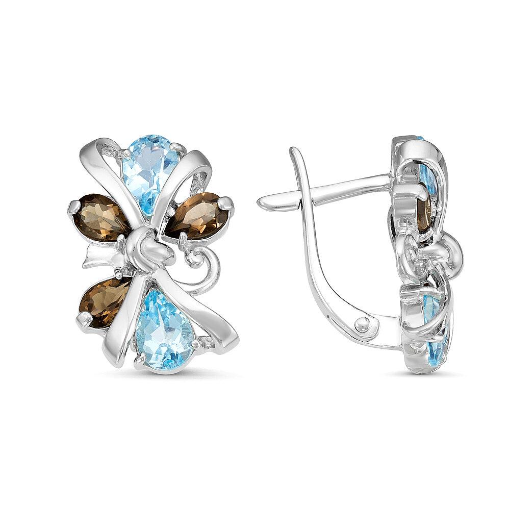 Серьги серебро натуральный природный голубой SKY топаз, Раухтопаз