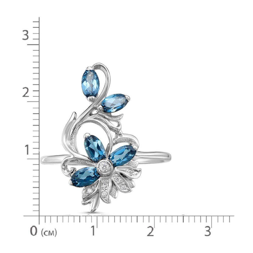 Кольцо серебро природный Лондон топаз
