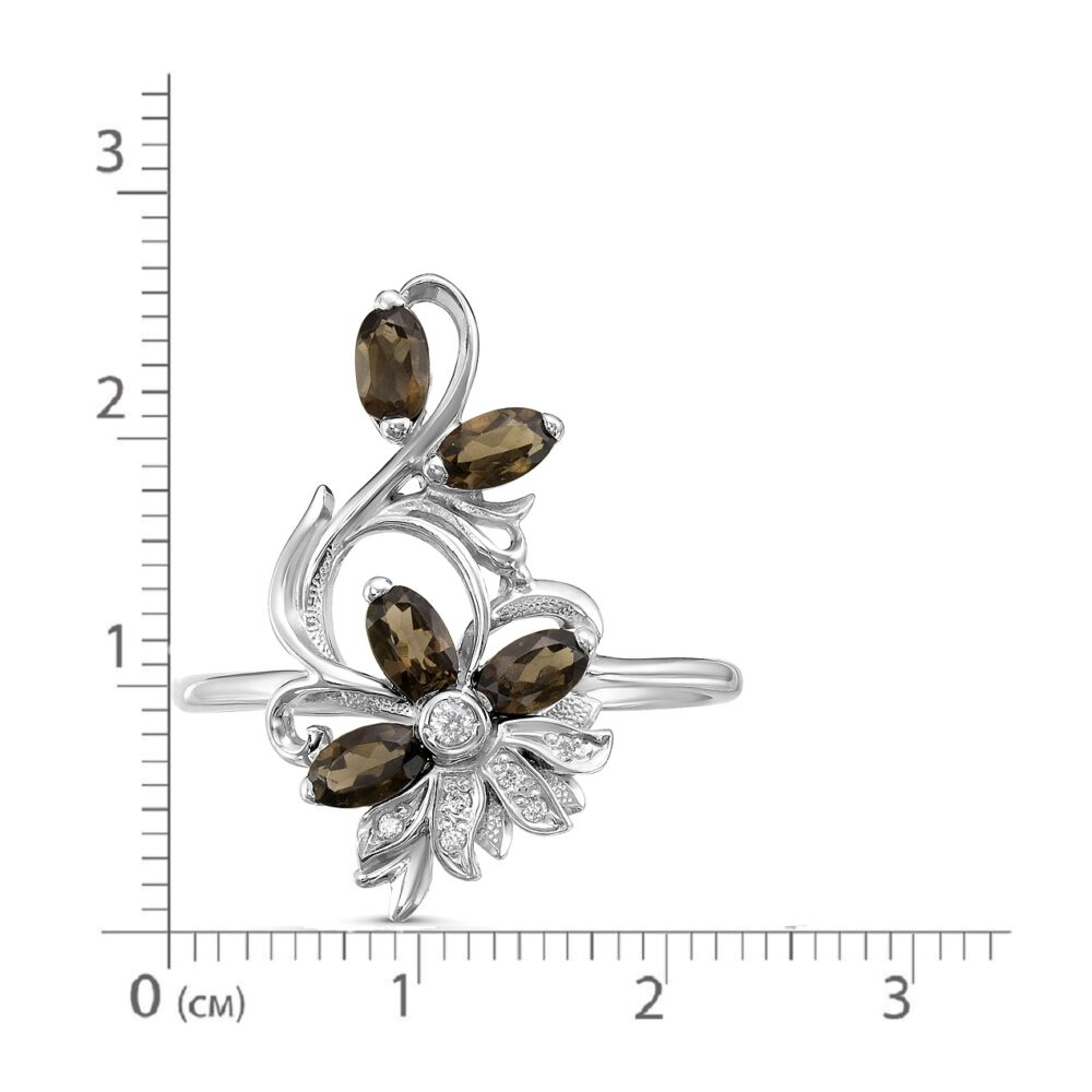 Кольцо серебро природный Раухтопаз