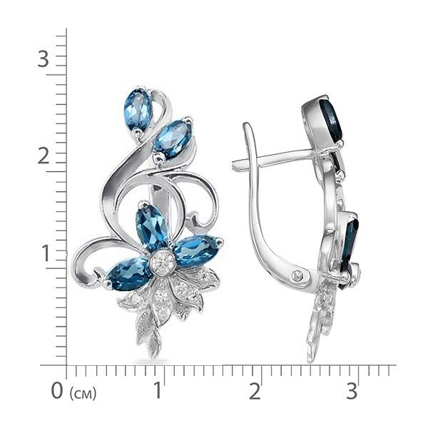 Серьги серебро натуральный природный синий Лондон топаз