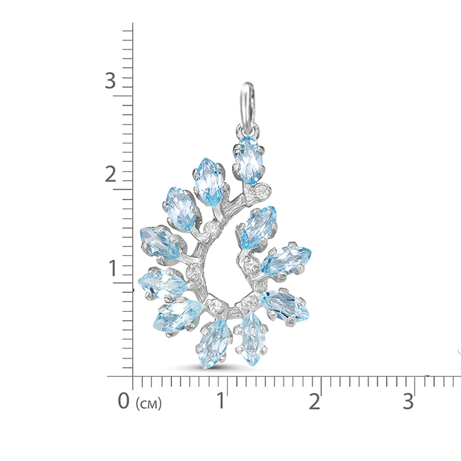Подвеска серебро натуральный природный голубой SKY топаз