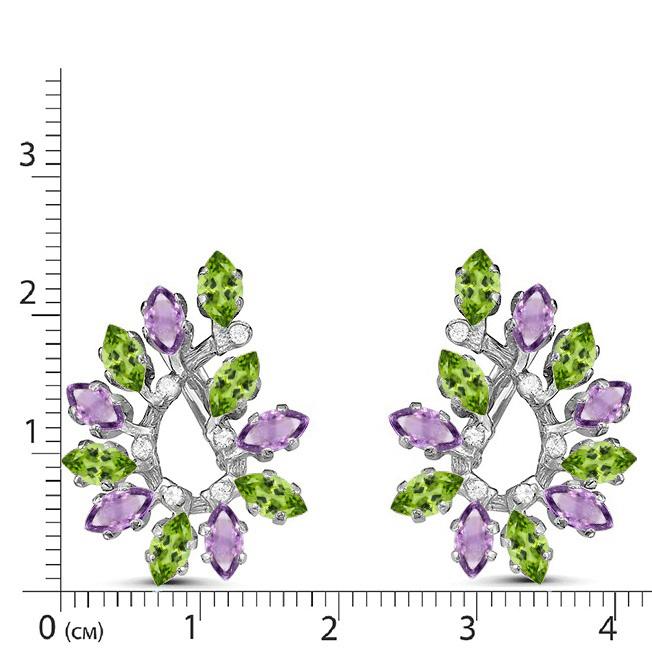 Серьги серебро натуральный природный хризолит и аметист