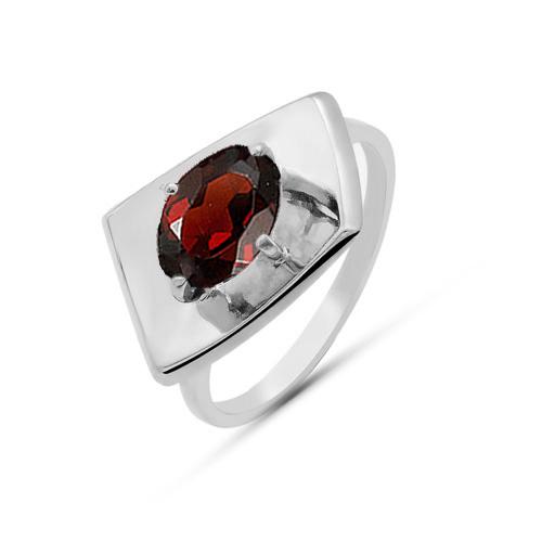 Кольцо серебро природный гранат