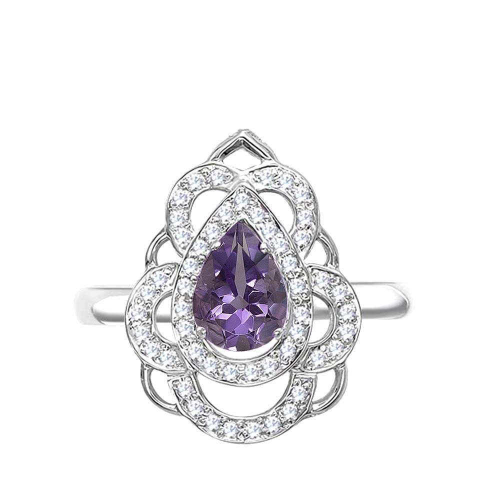 Кольцо серебро природный  аметист