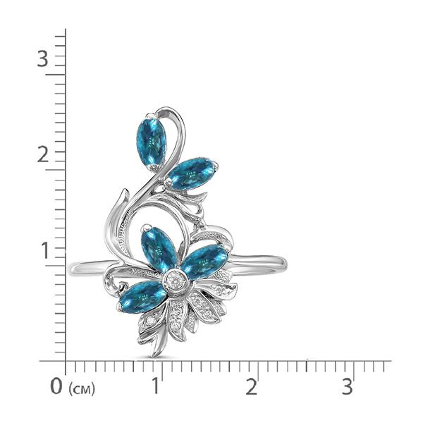 Кольцо серебро натуральный природный Swiss топаз