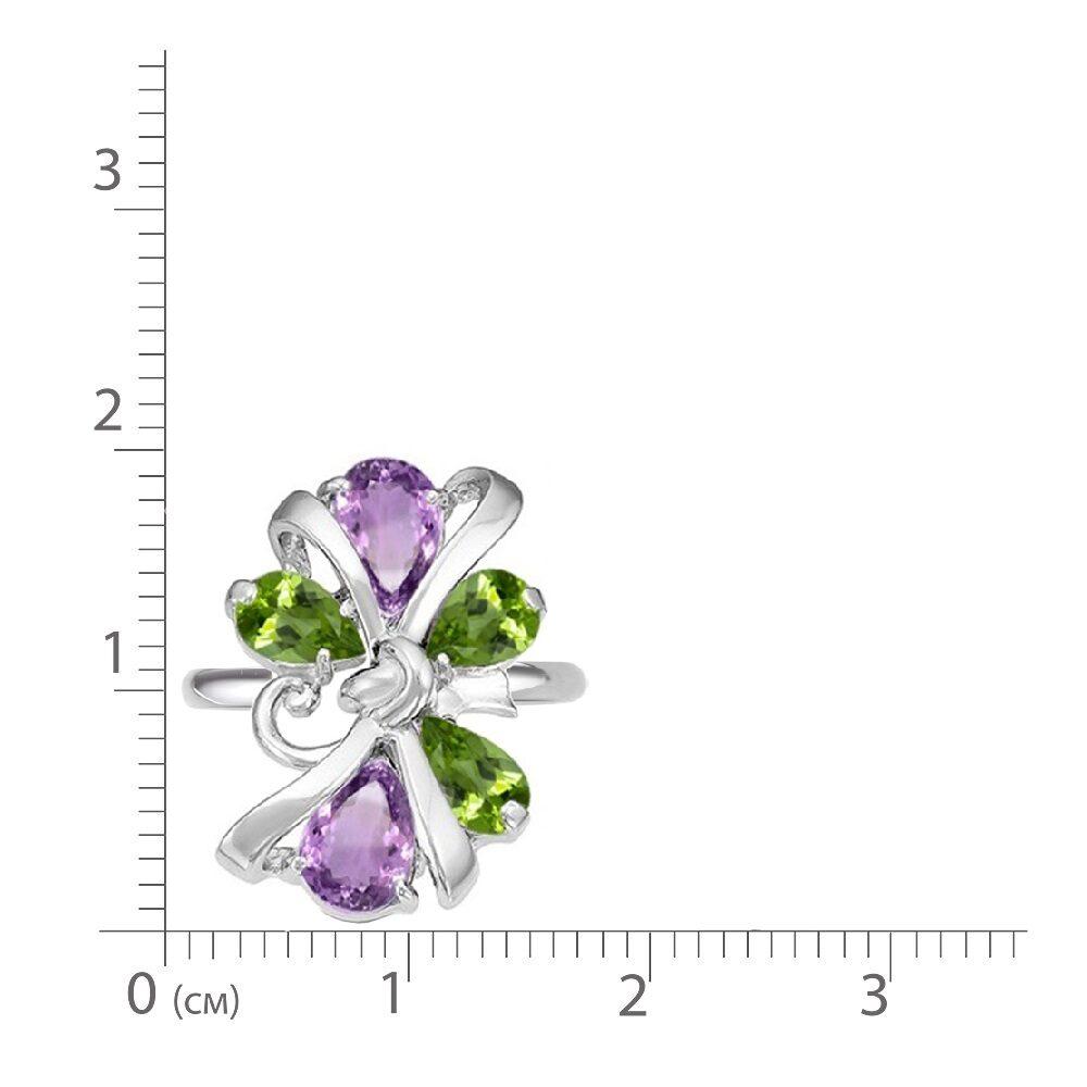 Кольцо серебро натуральный природный аметист и хризолит