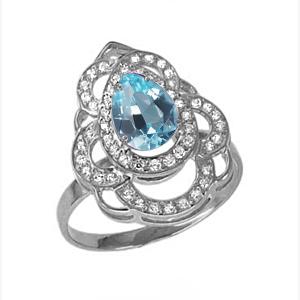 Кольцо серебро природный  топаз