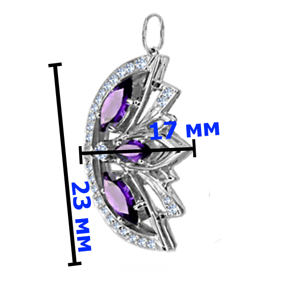 Подвеска серебро  натуральный природный аметист