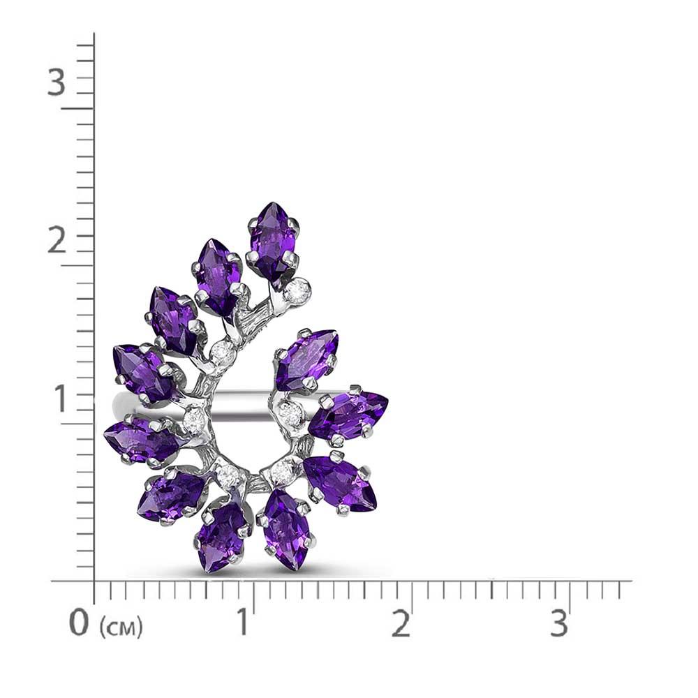 Кольцо серебро натуральный природный аметист