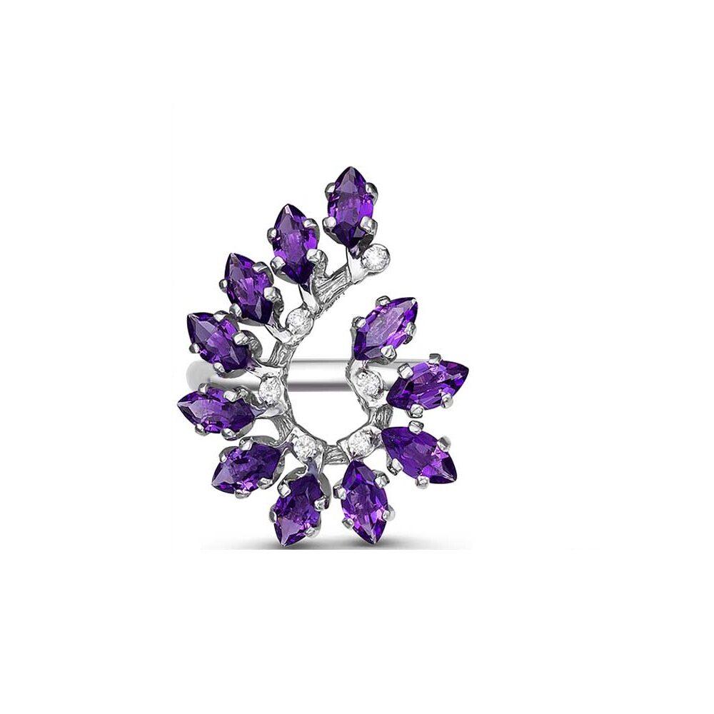 кольцо аметист серебро