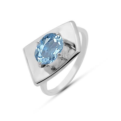 Кольцо серебро природный SKY топаз