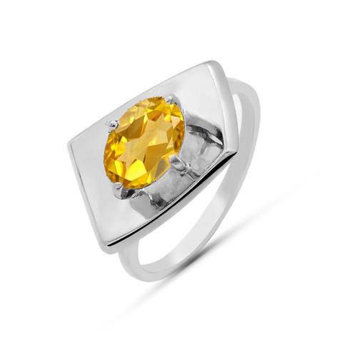 Кольцо серебро природный  цитрин