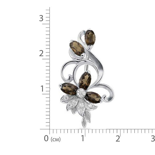 Брошь серебро натуральный природный Раухтопаз