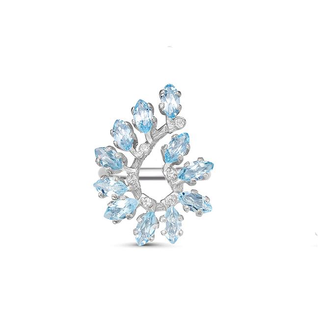 Кольцо серебро натуральный природный голубой SKY топаз