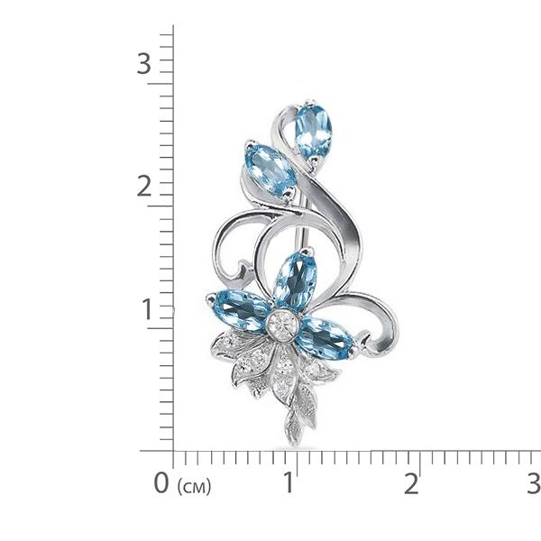 Брошь серебро натуральный природный голубой SKY топаз