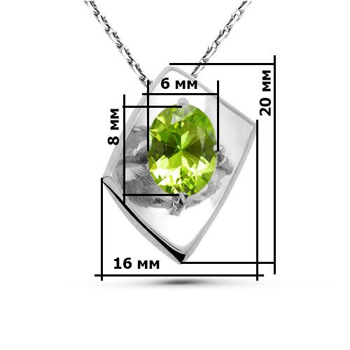 Подвеска серебро природный хризолит