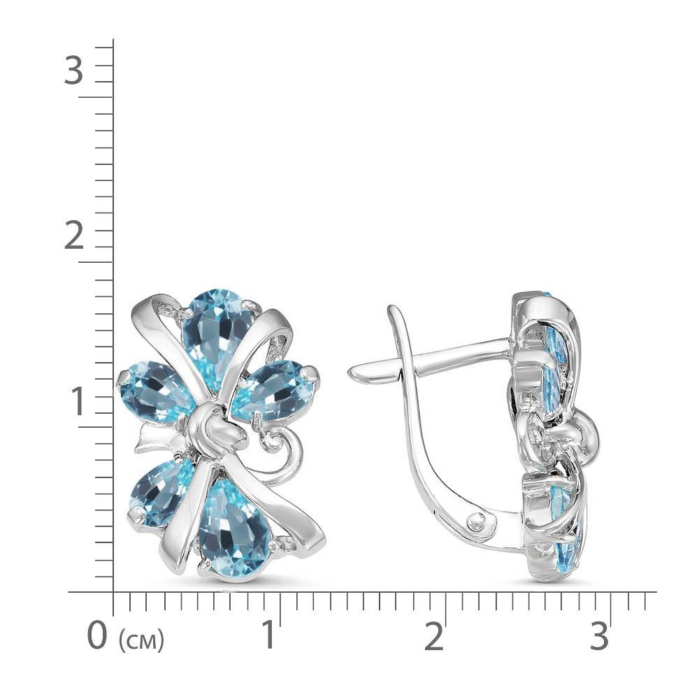 Серьги серебро натуральный природный голубой SKY топаз,