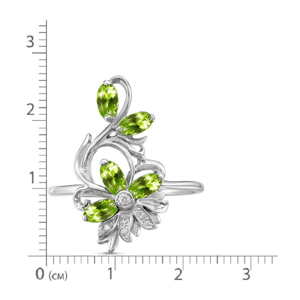 Кольцо серебро природный хризолит