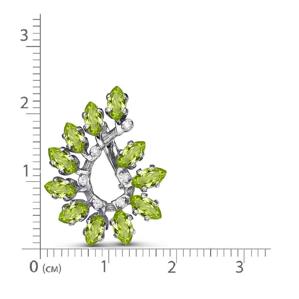 Серьги серебро натуральный природный хризолит