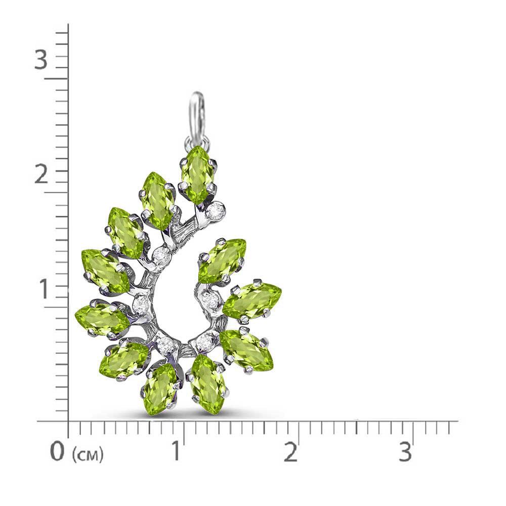 Подвеска серебро натуральный природный хризолит