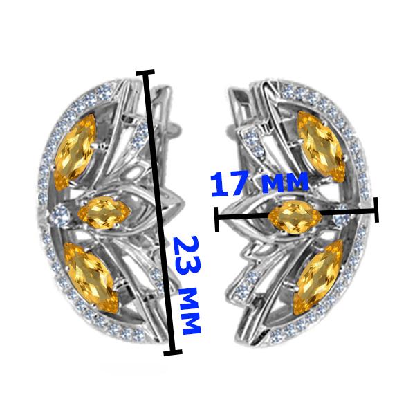 Серьги серебро натуральный природный  цитрин