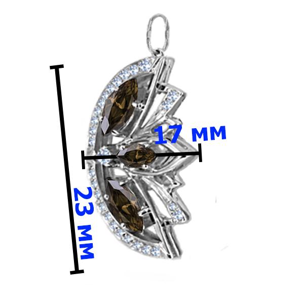 Подвеска серебро  натуральный природный Раухтопаз