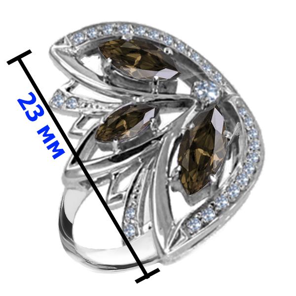 Кольцо серебро натуральный природный Раухтопаз