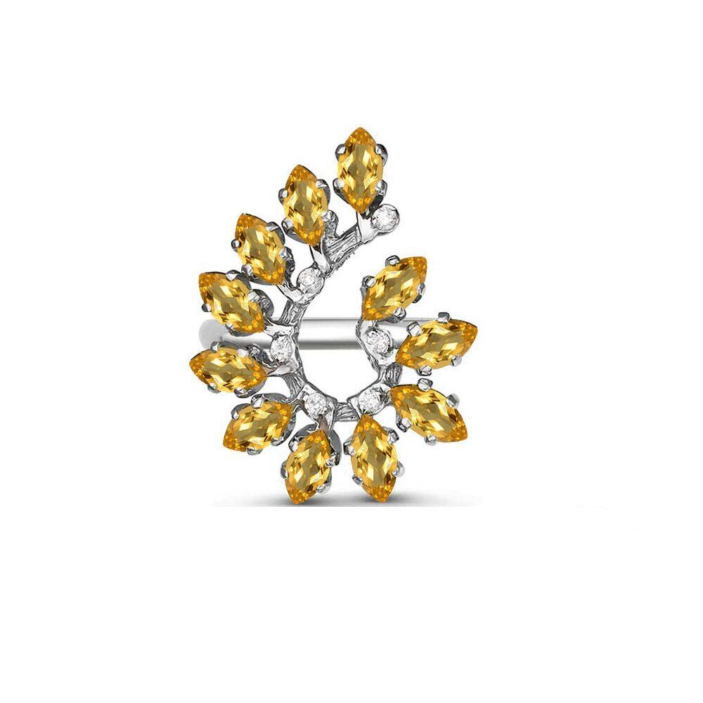 Кольцо серебро натуральный природный цитрин