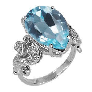 Кольцо серебро природный  голубой SKY топаз